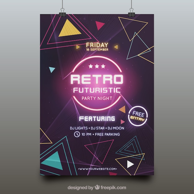 Futuristic party poster template Free Vector