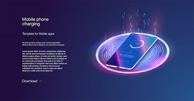 Futuristic phone is charged wirelessly on a blue background. wireless charging. Premium Vector