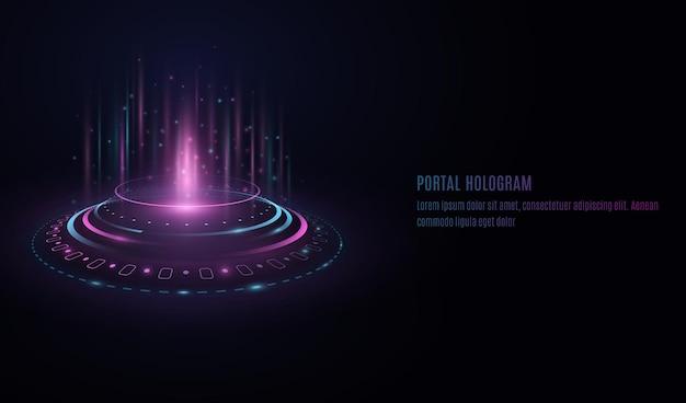 透明な背景にhudインターフェース要素を備えた未来的なポータルホログラム。 Premiumベクター