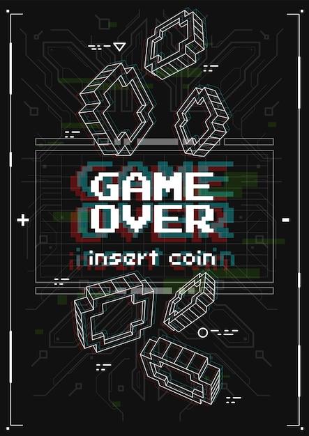 レトロなゲームの要素を持つ未来的なポスター。バーチャルリアリティスタイルのゲームオーバースクリーン。印刷およびweb用のテンプレート。 Premiumベクター