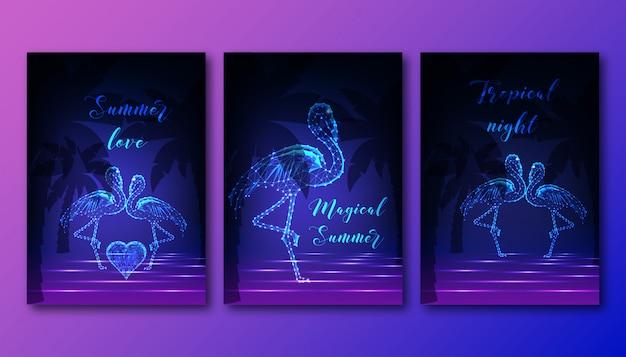Futuristic posters set with couple of dancing flamingos Premium Vector