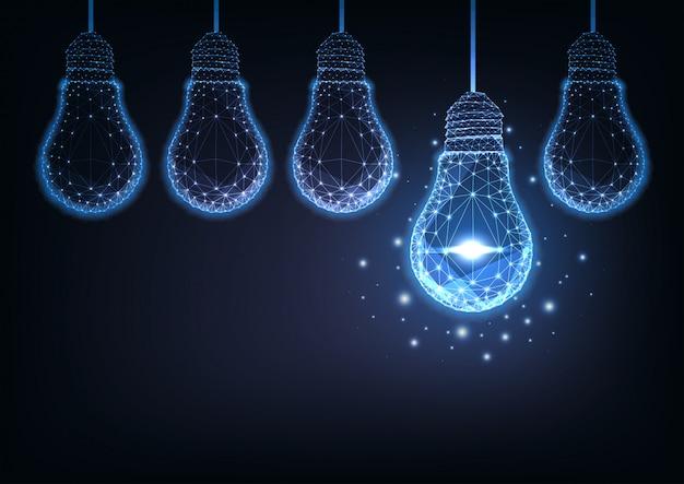 Futuristic raw of glowing low polygonal electric light bulbs on dark blue background. Premium Vector