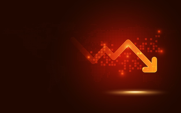 Futuristic red signal trend drop down arrow chart abstract technology background Premium Vector