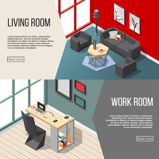 Futuristic residential interior isometric banners Free Vector