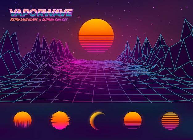 Футуристическая иллюстрация ретро ландшафта и заход солнца Premium векторы