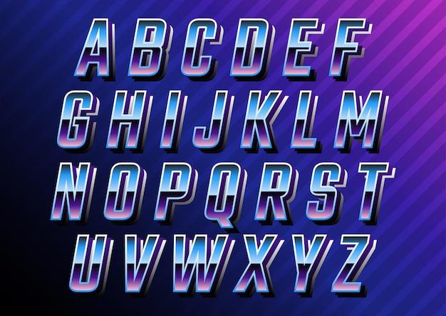 未来的なレトロな技術のアルファベットセット Premiumベクター
