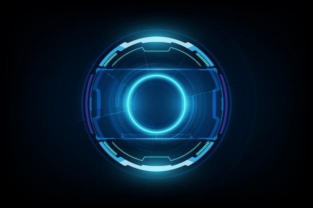 未来的なサイエンスフィクションhudサークル要素。ホログラムの抽象的な背景。バーチャルリアリティ。 Premiumベクター