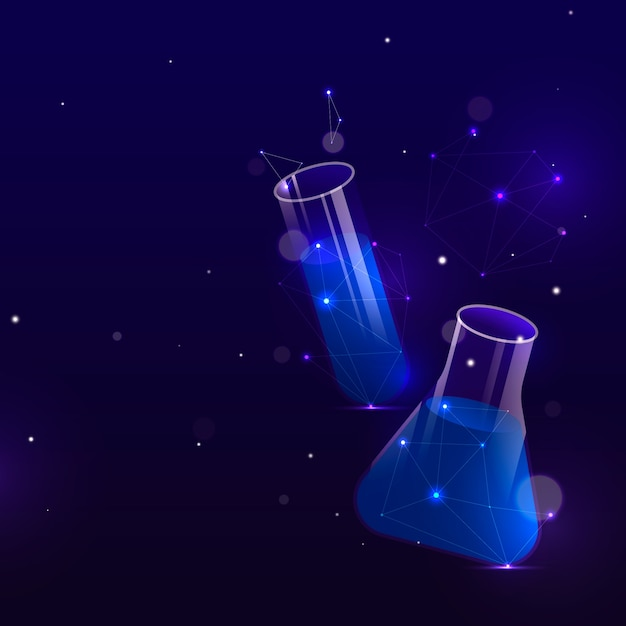 Futuristic science lab background in space Free Vector