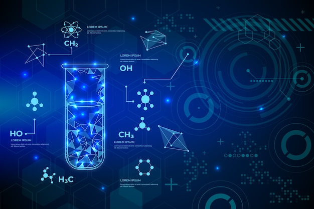 Futuristic science lab backround concept Free Vector