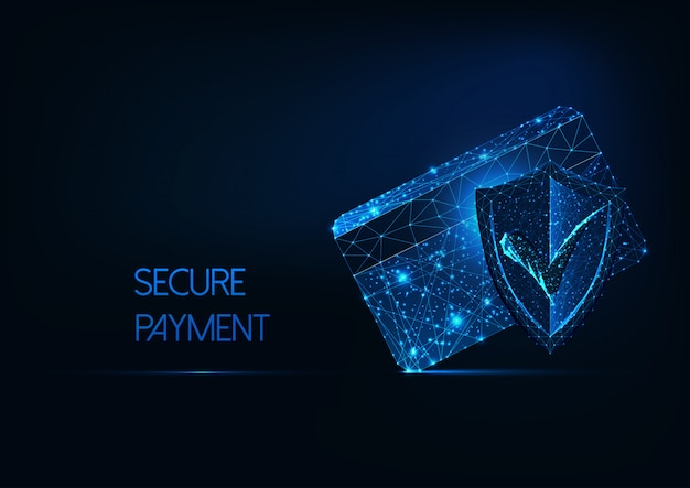 Futuristic secure payment concept with glow low polygonal credit card, protection approval shield. Premium Vector