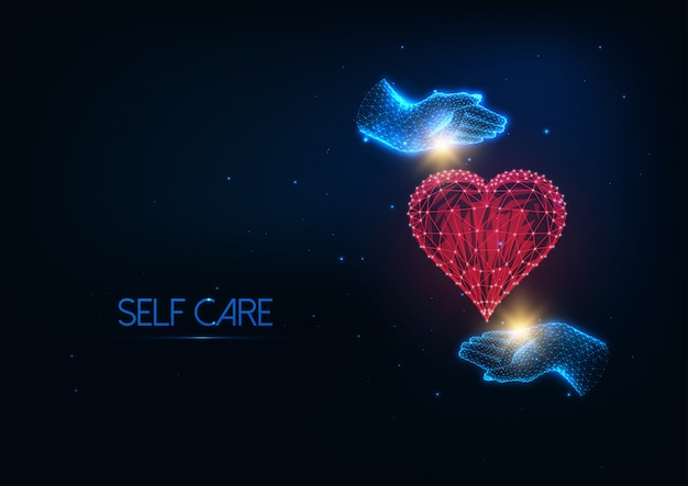 Futuristic self care illustratation with glowing polygonal hands hugging red heart Premium Vector