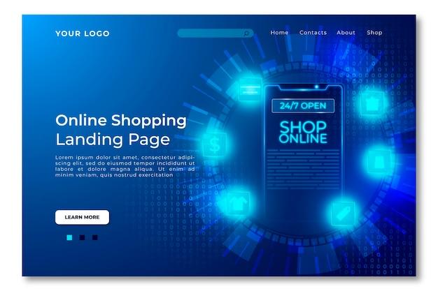 未来的なショッピングオンラインランディングページテンプレート Premiumベクター