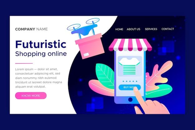 未来的なショッピングオンラインランディングページテンプレート 無料ベクター