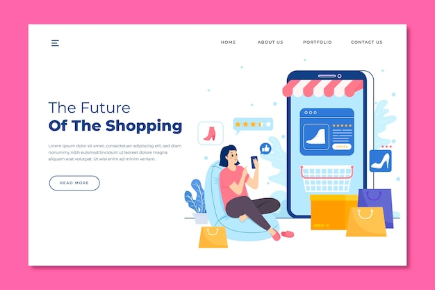 Futuristic shopping online landing page Free Vector