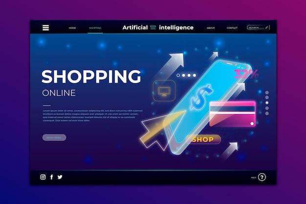 未来のショッピングオンラインランディングページ 無料ベクター