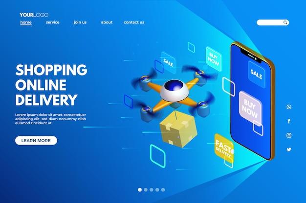 未来的なショッピングオンラインテンプレートのランディングページ 無料ベクター