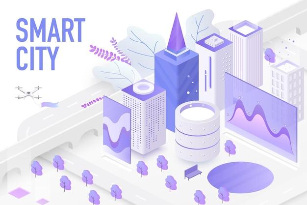 未来的なスマートシティ、テクノロジーデバイス自動制御システムチャート画面の概念 Premiumベクター