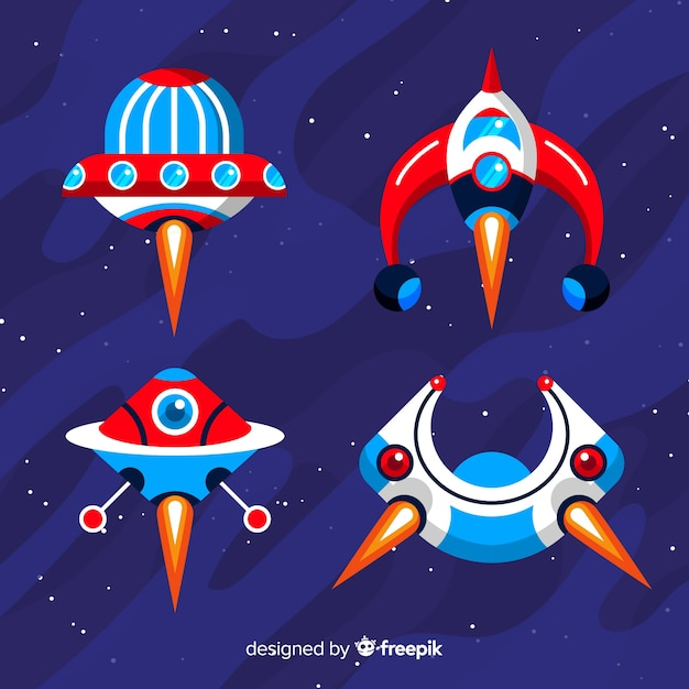 Futuristic spaceship collection with flat design Free Vector