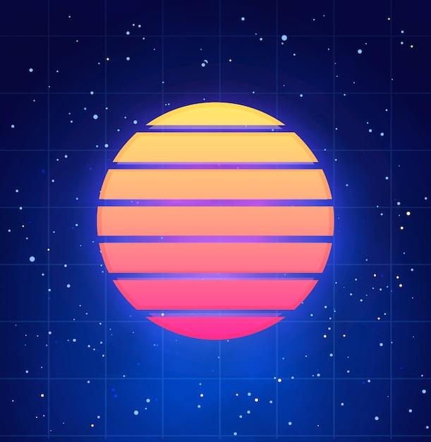 レトロなスタイルで未来的な夕日のイラスト。星空とvaporwave、synthwave抽象テンプレート Premiumベクター