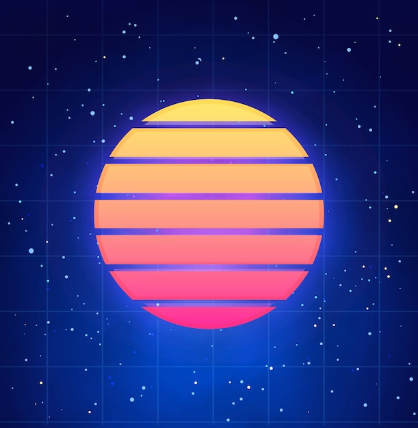 Futuristic sunset illustration in retro style. vaporwave, synthwave abstract template with star sky Premium Vector