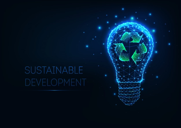 Futuristic sustainable development concept with glowing low polygonal light bulb and recycle sign Premium Vector