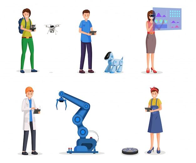 Futuristic technologies flat  s set Premium Vector