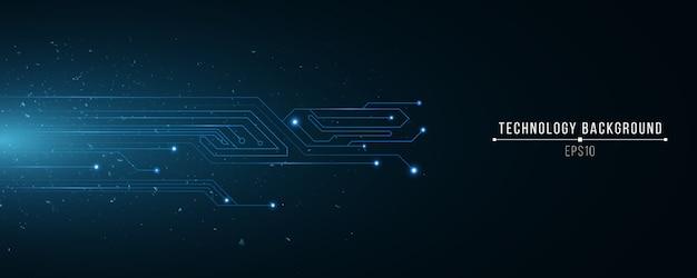 輝く青いコンピューター回路の未来の技術の背景。ランダムに飛ぶ粒子。科学の背景。ハイテクテンプレート。 Premiumベクター