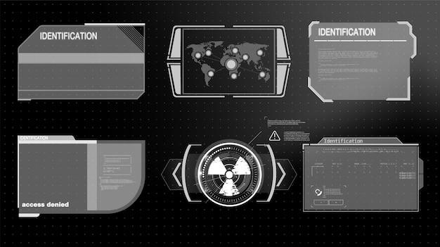 Футуристические технологии hud screen. тактический вид sci-fi vr dislpay. hud ui. футуристический виртуальный дисплей. экран технологии vitrual reality. Premium векторы