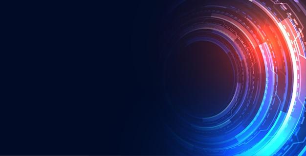 未来の技術hudスタイルコンセプト背景デザイン 無料ベクター