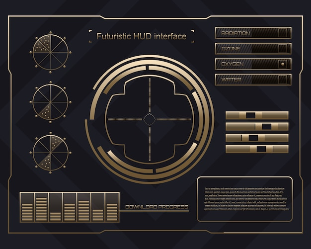 Futuristic technology interface hud ui background. Premium Vector