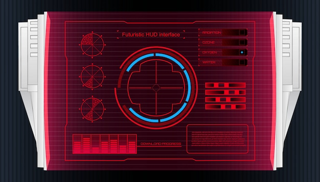 Futuristic technology interface hud ui banner. Premium Vector