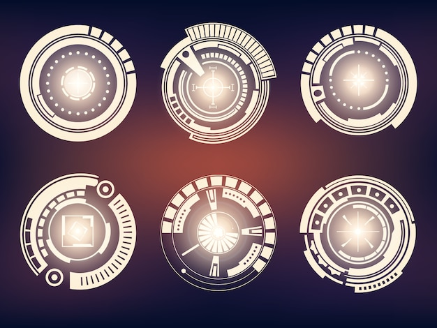 Futuristic technology interface hud ui set. Premium Vector