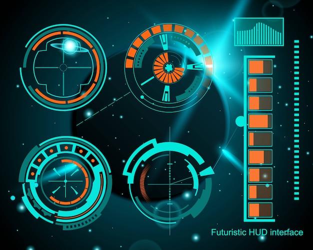 Futuristic technology interface hud ui. Premium Vector