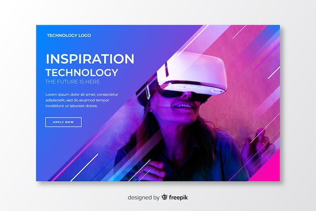 Futuristic technology landing page Free Vector