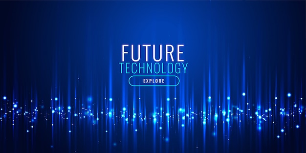 Futuristic technology particles banner design Free Vector