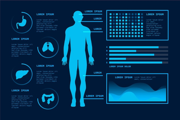 Futuristic technology templatemedical infographic Free Vector