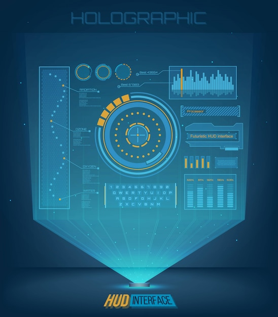 Futuristic touch user interface hud background. Premium Vector