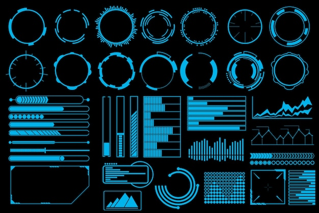 Futuristic user interface elements vector set. Free Vector