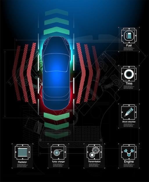 Футуристический пользовательский интерфейс. hud абстрактный виртуальный графический интерфейс пользователя касания. инфографика автомобилей. Premium векторы
