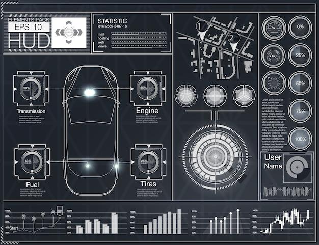 Футуристический пользовательский интерфейс. hud ui. абстрактный виртуальный графический интерфейс пользователя касания. инфографика автомобилей. абстрактная наука. иллюстрация. Premium векторы