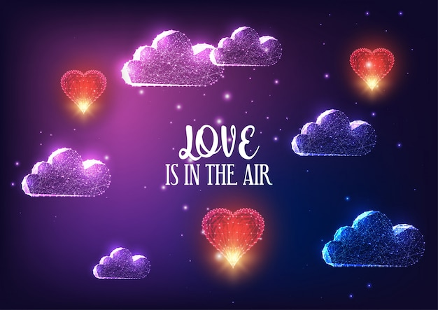 Futuristic valentines day concept with glowing clouds, red flying hearts Premium Vector