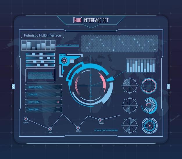 Futuristic virtual touch user interface hud. Premium Vector