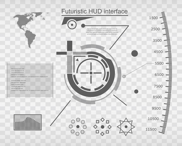 Futuristic virtual touch user interface hud. Premium Vector