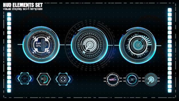 未来的なvrヘッドアップディスプレイ。 sfヘルメットhud。 Premiumベクター
