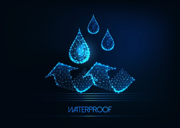 Futuristic waterproofing . glowing low poly water drops and arrows on dark blue background. Premium Vector