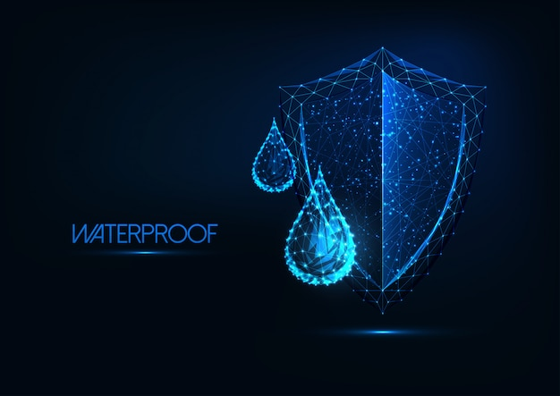 Futuristic waterproofing . glowing low poly water drops and shield on dark blue background. Premium Vector