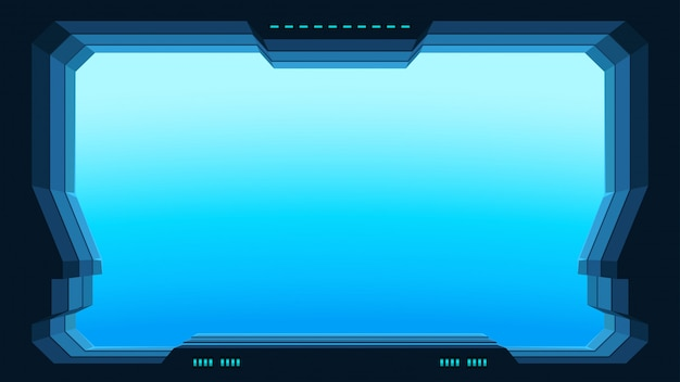 Futuristic window view Premium Vector