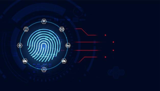 Futuristic with finger prints concept. theft detection Premium Vector