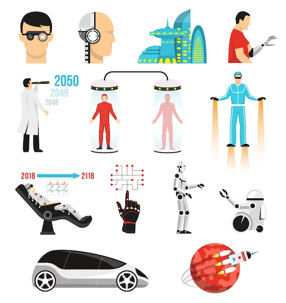 Futurology set of characters and elements Free Vector