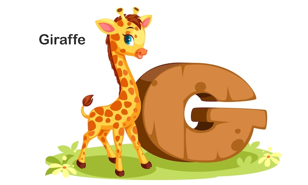 G for giraffe Premium Vector